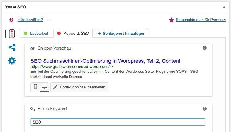 Beispiel für eine Optimierung einer WordPress-Seite mit dem Plugin SEO Yoast