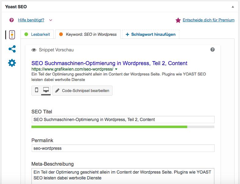 SEO Yoast Fenster, das im WordPress Dashboard unterhalb einer Seite, die man bearbeitet, erscheint